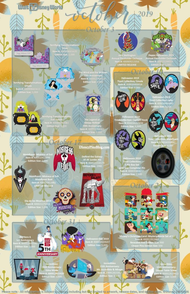 Walt Disney World October 2019 Pin Preview