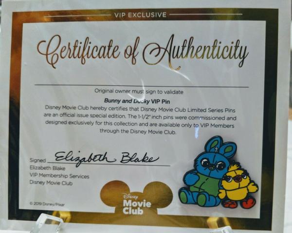 Bunny and Ducky Disney Movie Club Pin