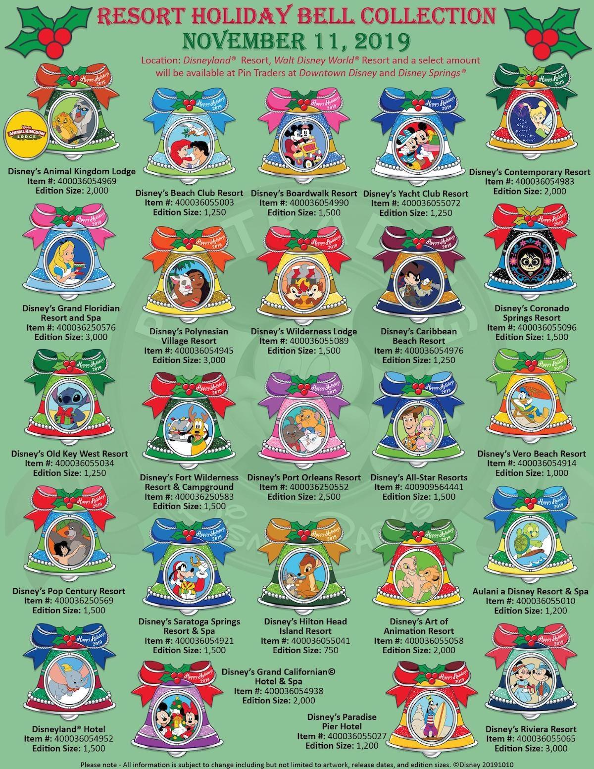 Disney Resorts Holiday 2019 Pin Collection