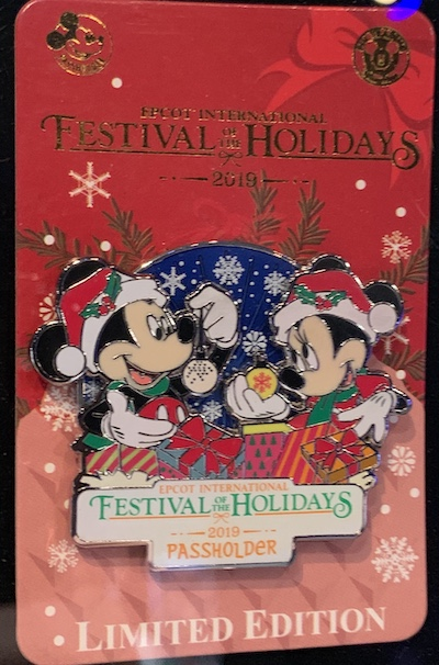 Epcot Festival of the Holidays 2019 Passholder Pin