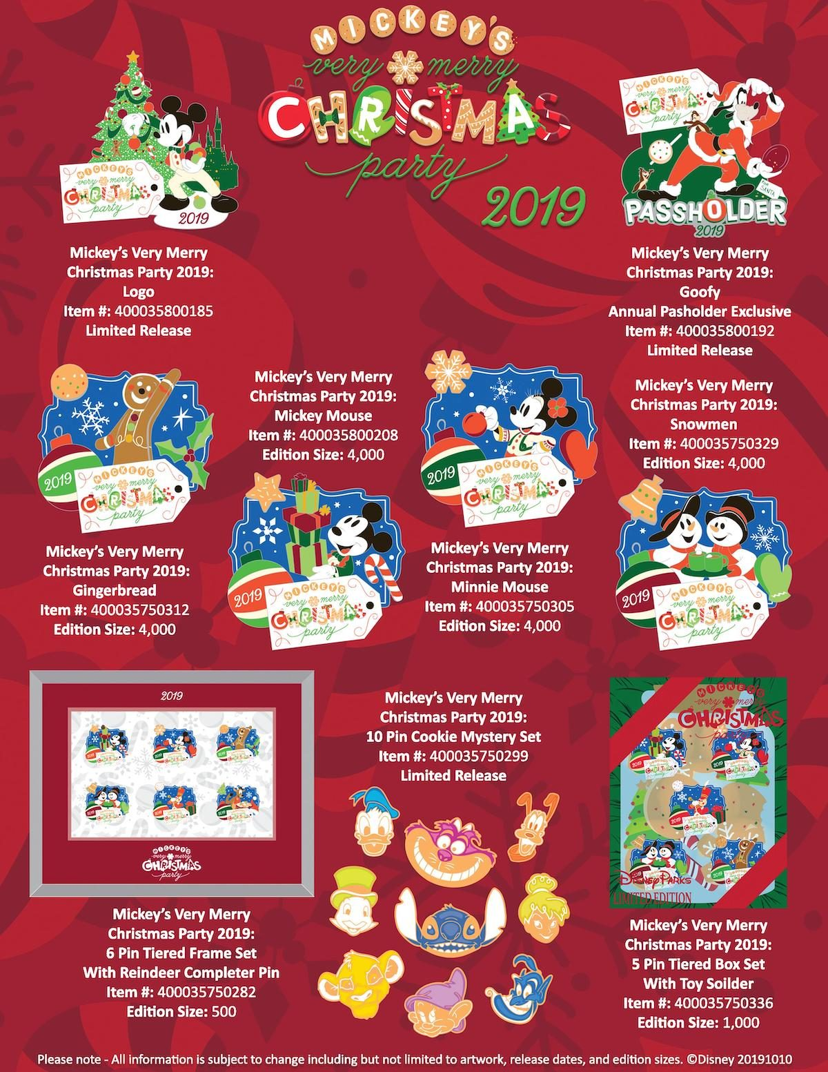 Sealed NEW Disney Very Merry Christmas Party 2019 Mystery Pin Box of 2 Pins