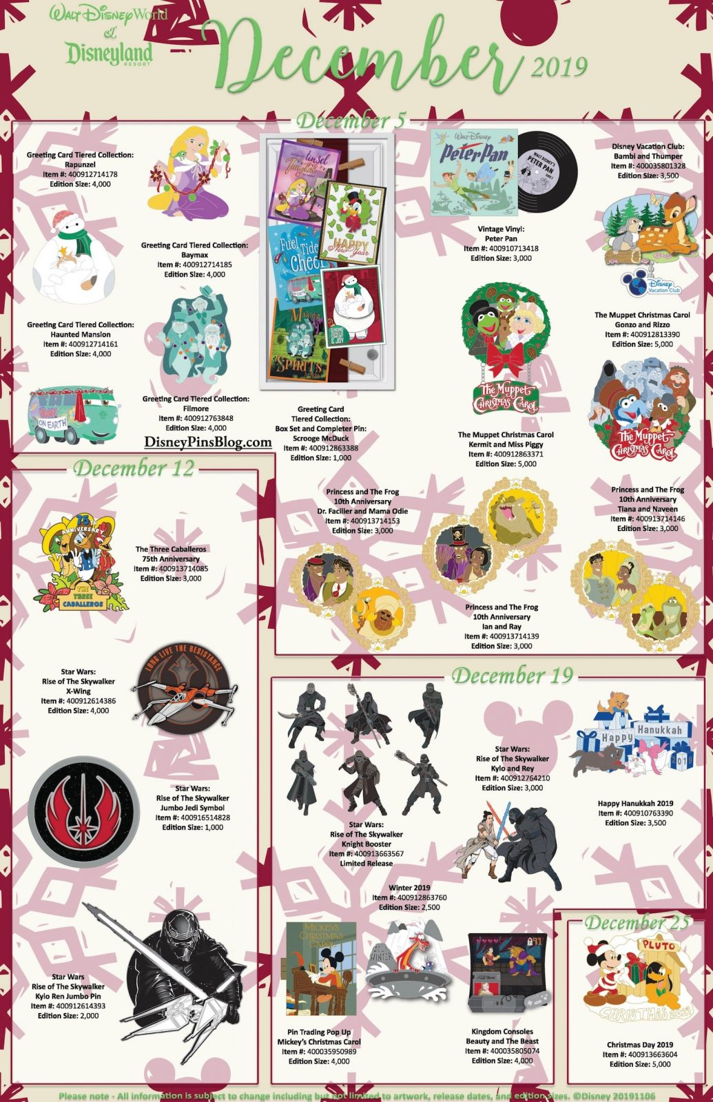 Shared Disney Parks December 2019 Pins