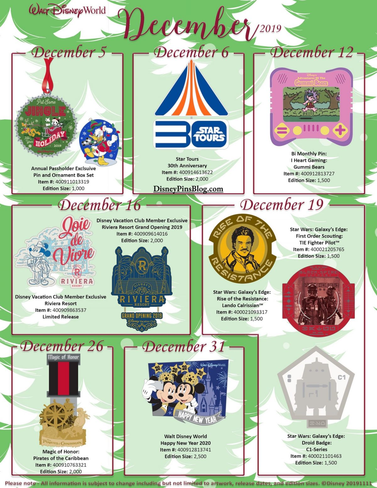 Walt Disney World December 2019 Pin Preview