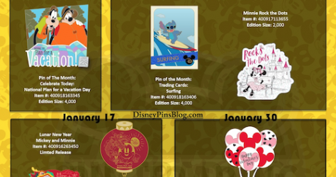 Disney Parks January 2020 Pin Preview