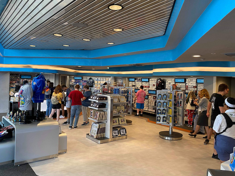Inside Epcot Pin Traders Store