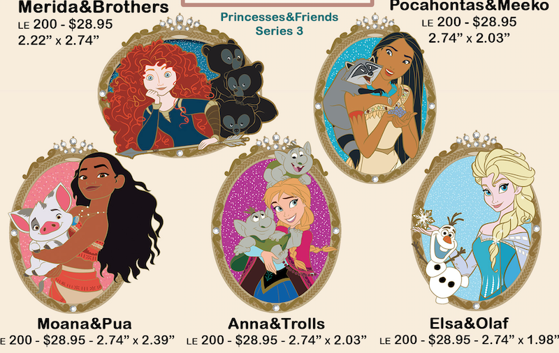 Princess and Friends Series 3 Disney Employee Center Pins