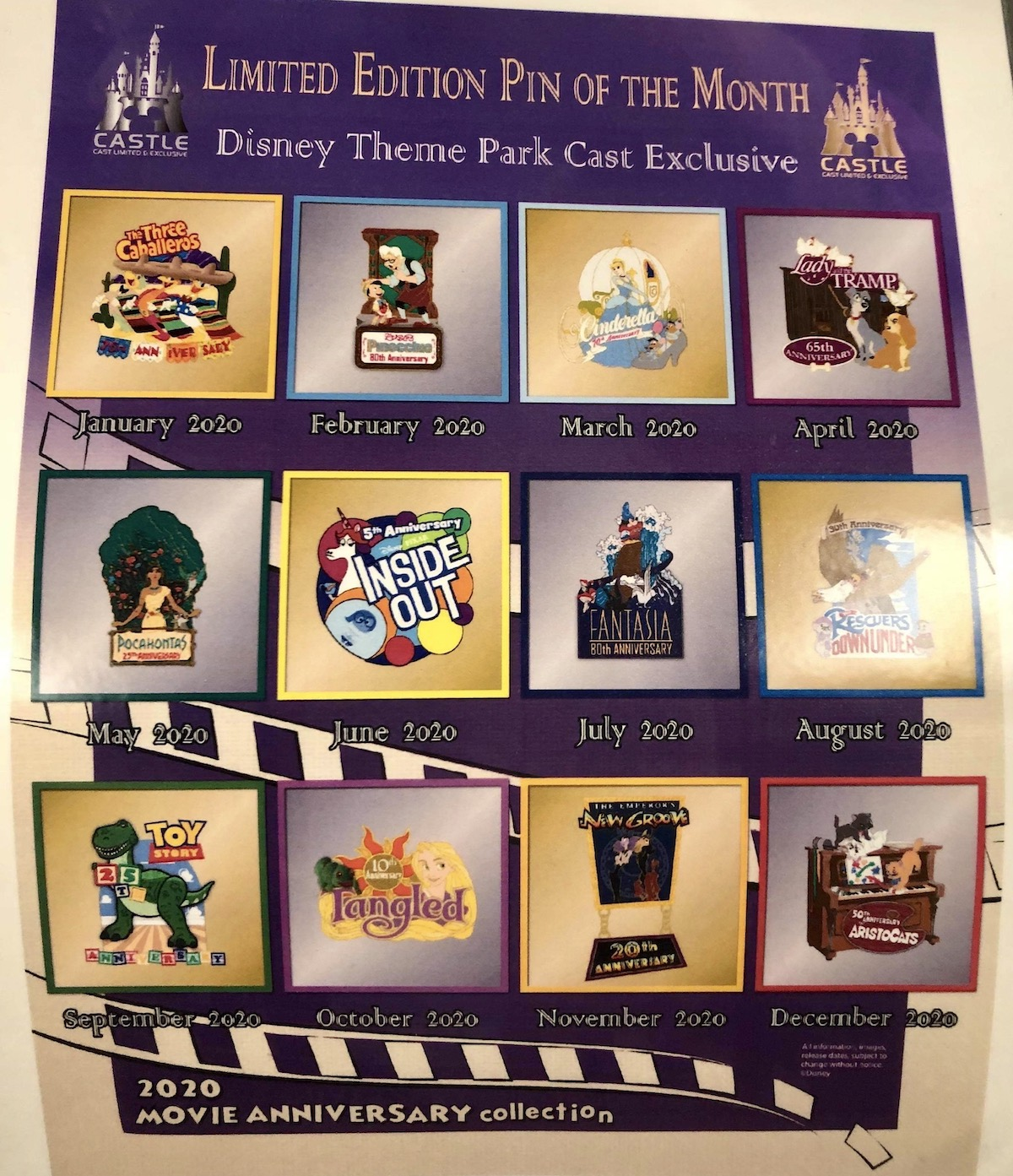 Cast Member 2020 Movie Anniversary Pin Collection