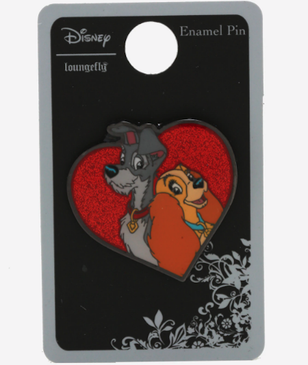 Lady and the Tramp Glitter Heart Hot Topic Disney Pin