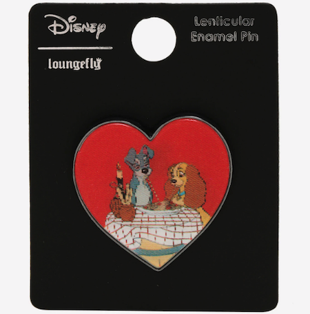 Lady and the Tramp Kiss Lenticular BoxLunch Disney Pin