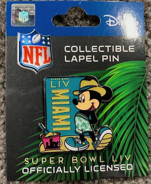 Super Bowl LIV Miami NFL Mickey Mouse Beach Pin