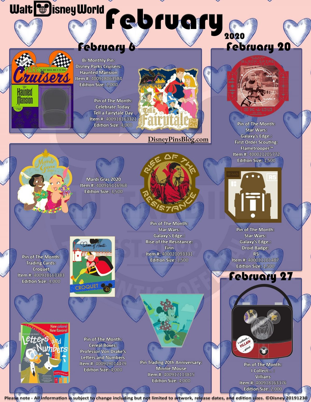 Walt Disney World February 2020 Pin Preview