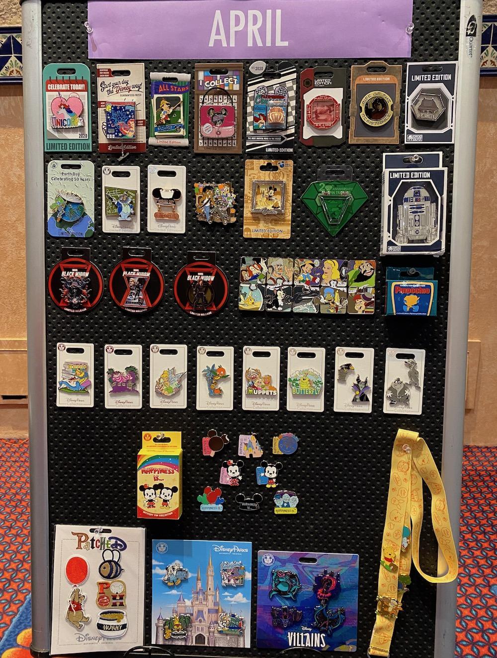 April 2020 Disney Pin Preview Board
