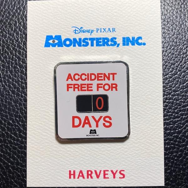 Accident Free Monsters, Inc. Harveys Disney Pin