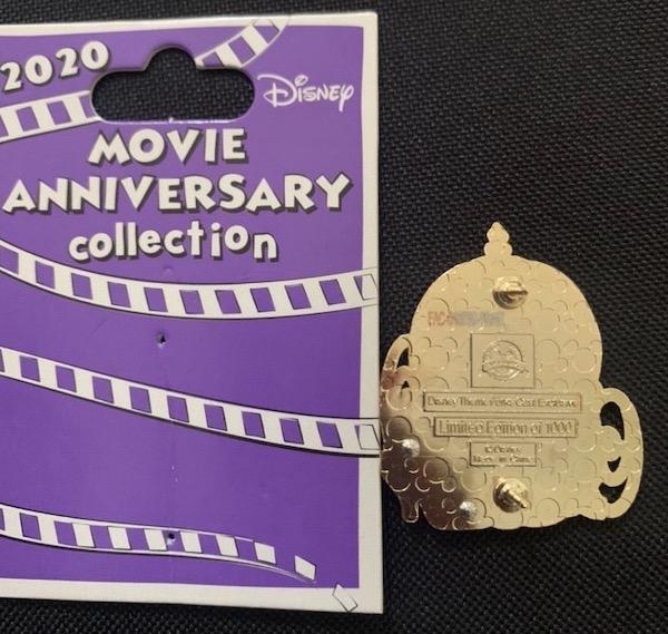 Back of Cinderella 70th Anniversary Cast Member Pin