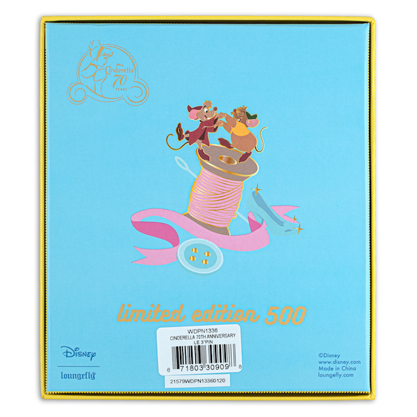 Back of Cinderella 70th Anniversary Limited Edition Loungefly Disney Pin