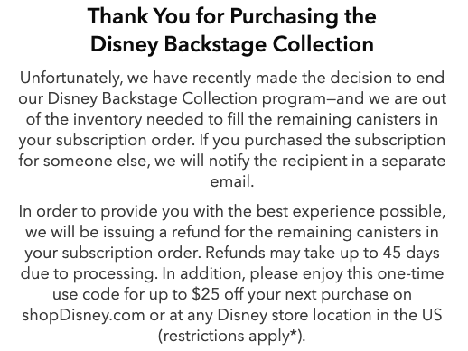 Canceled: Disney Backstage Collection Subscription