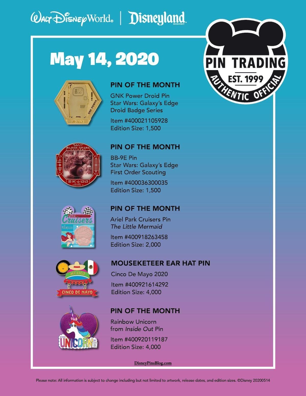 Disney Parks May 14 2020 Pin Preview