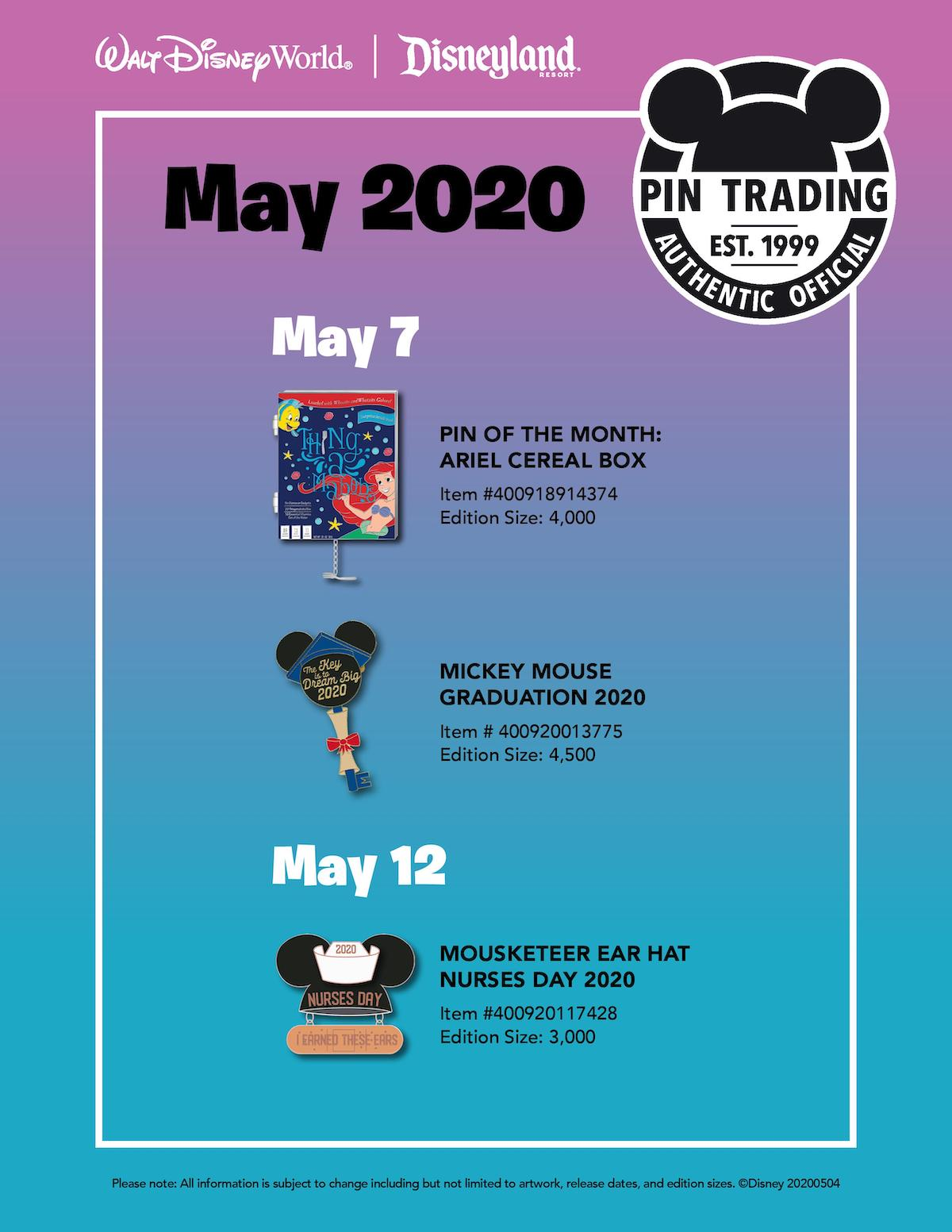 Disney Parks May 2020 Pin Preview