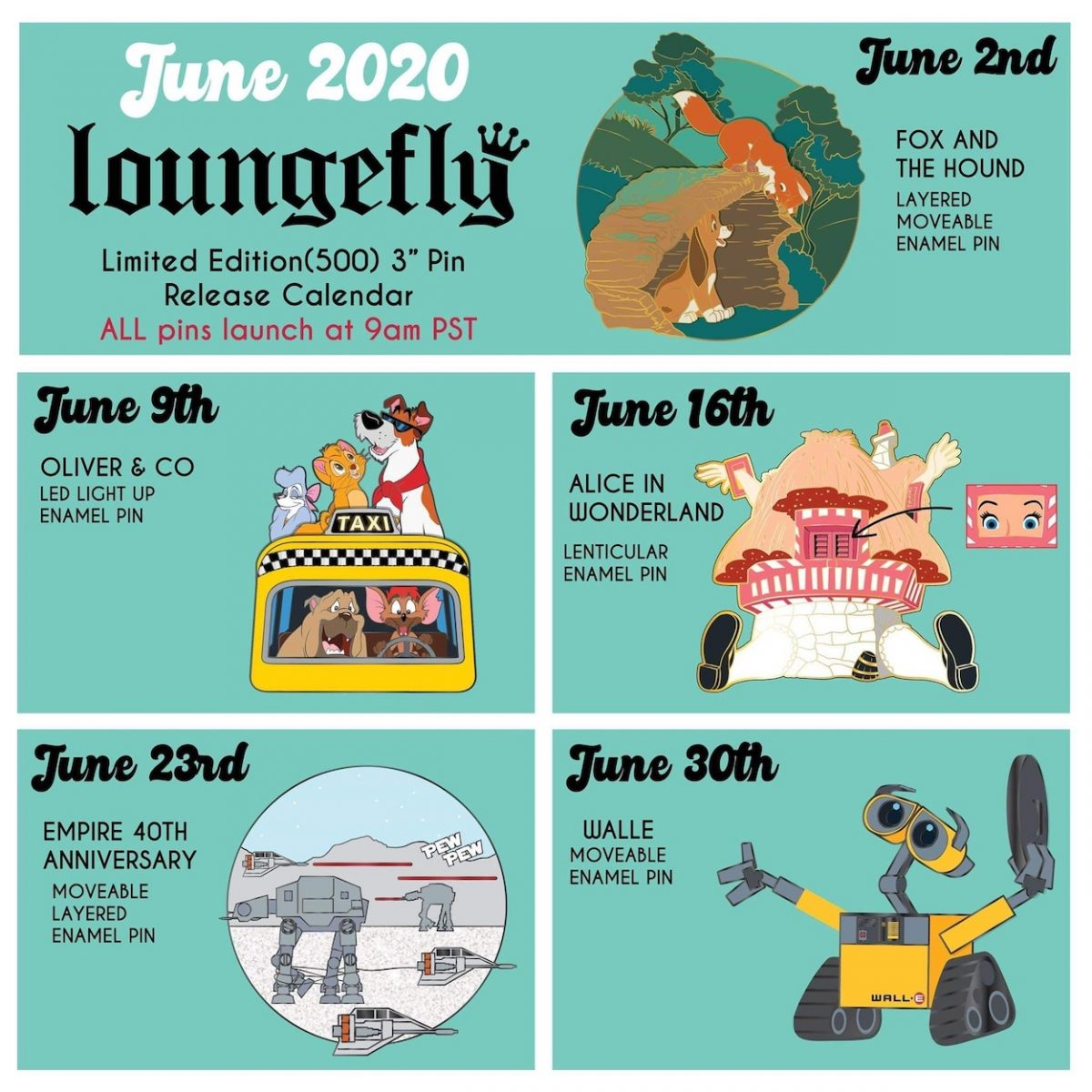 June 2020 Loungefly Disney Pin Preview