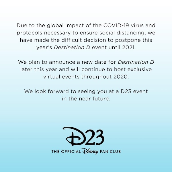 D23 Destination D: Fantastic Worlds Postponed