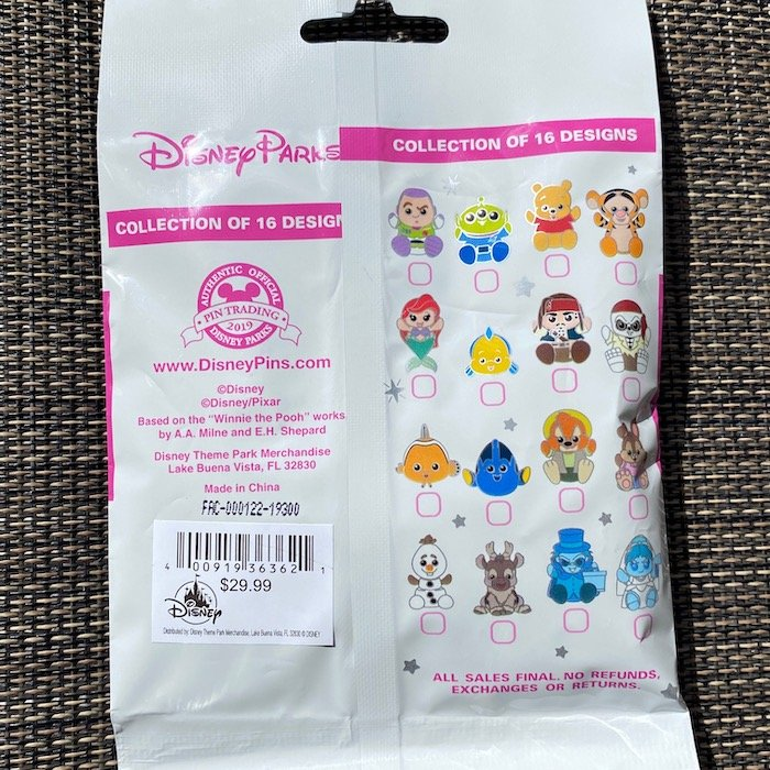 Back of Disney Parks Wishables Collectible Pin Pack