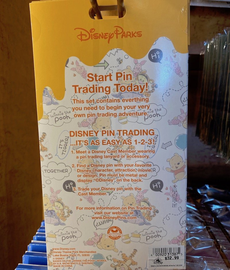 Back of Winnie the Pooh Pin Trading Starter Set