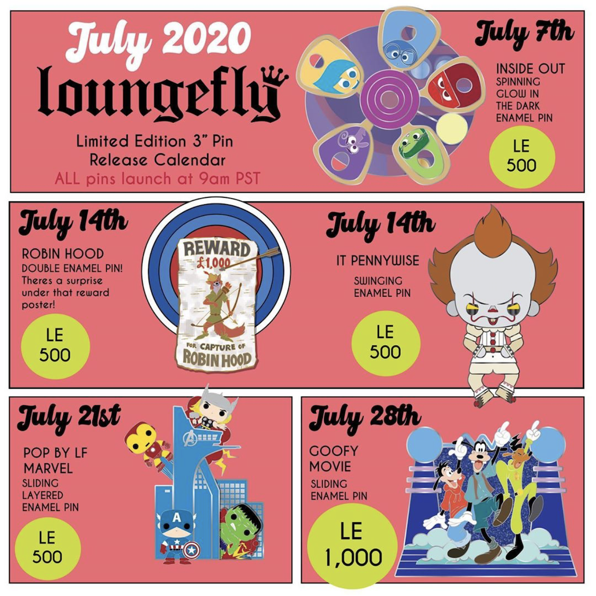 July 2020 Loungefly Disney Pin Preview