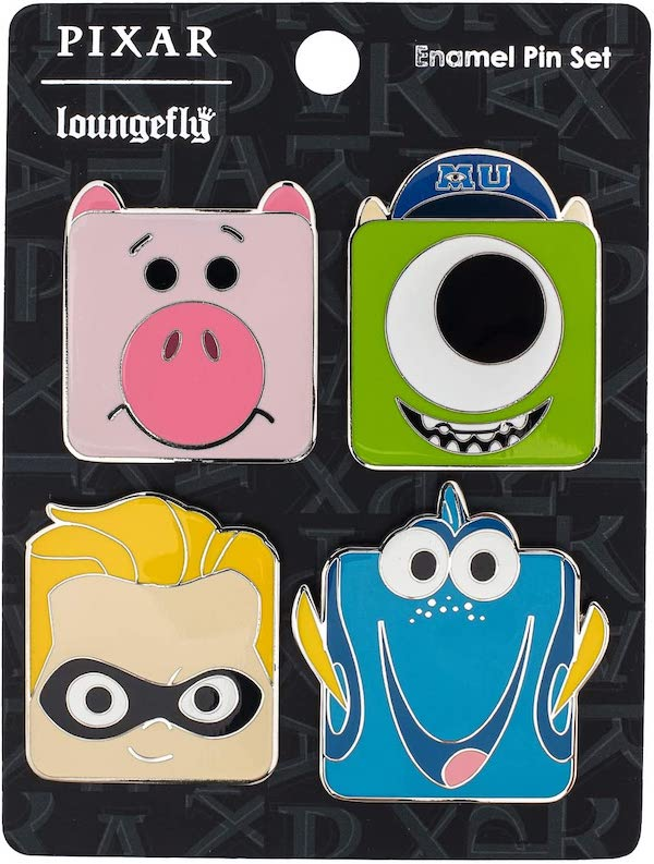 Pixar Mike, Hamm, Dory, and Dash Loungefly Pin Set