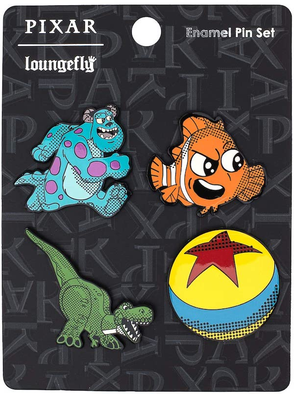 Pixar Sully, Nemo, Rex and Luxo Ball Loungefly Pin Set