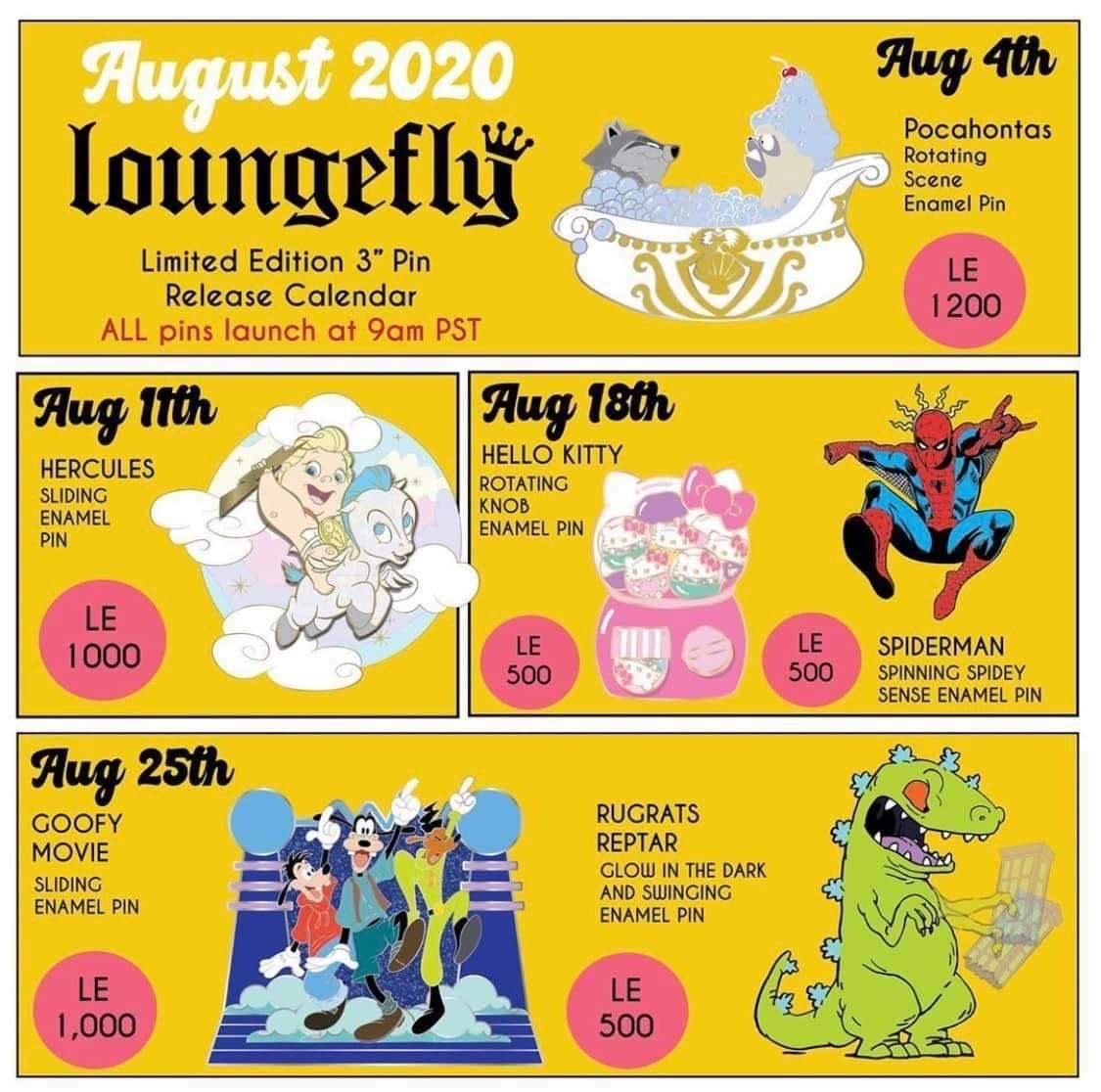 August 2020 Loungefly Disney Pin Preview