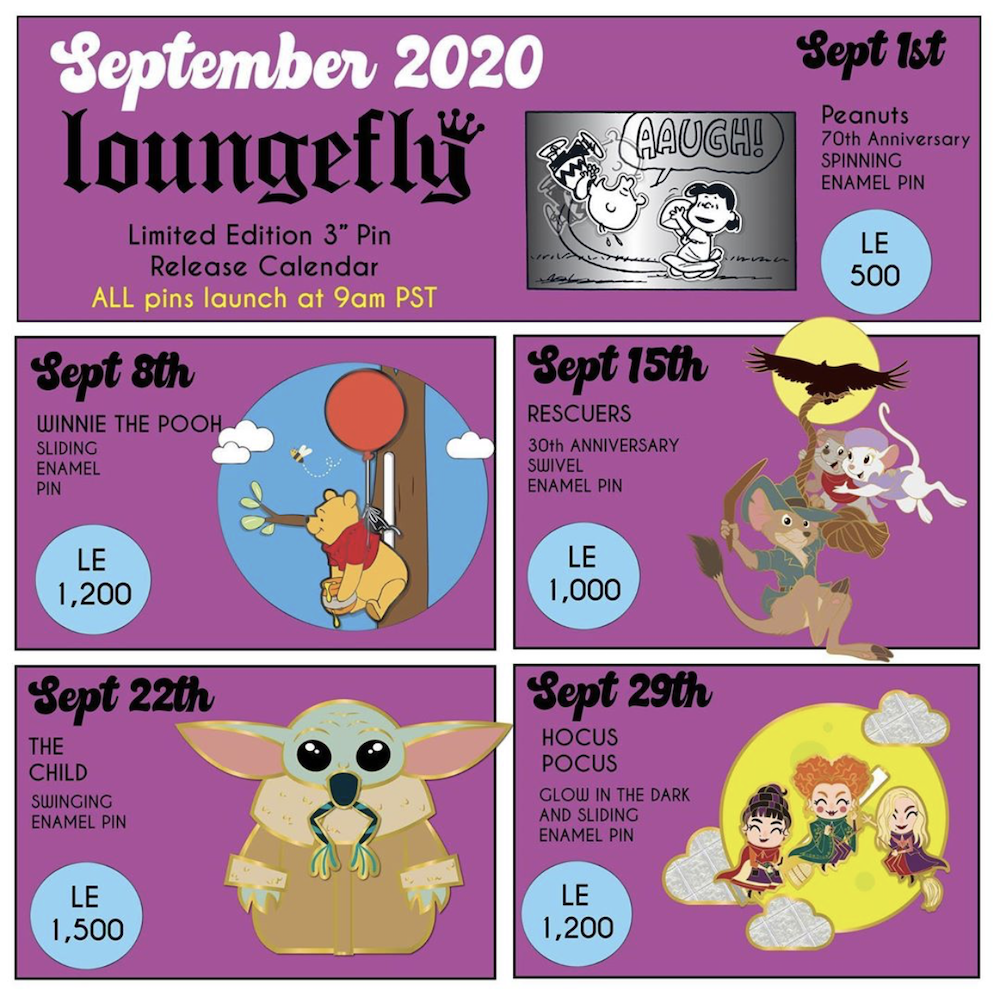 September 2020 Loungefly Disney Pin Preview