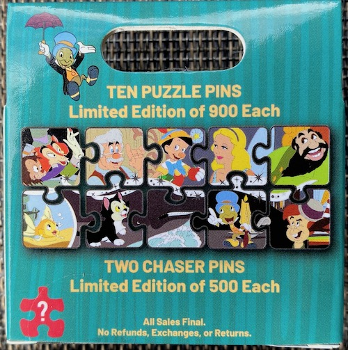 Back of Pinocchio Character Connection Mystery Pin Set