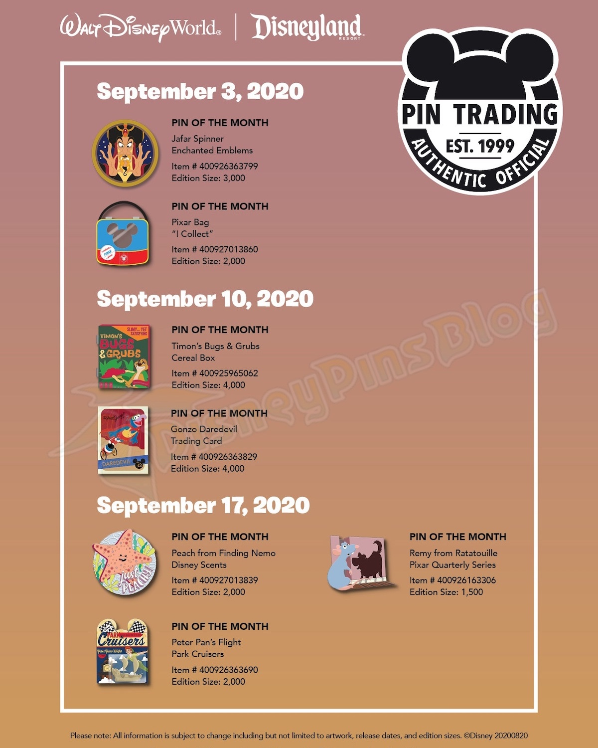 Disney Parks September 2020 Pin Preview