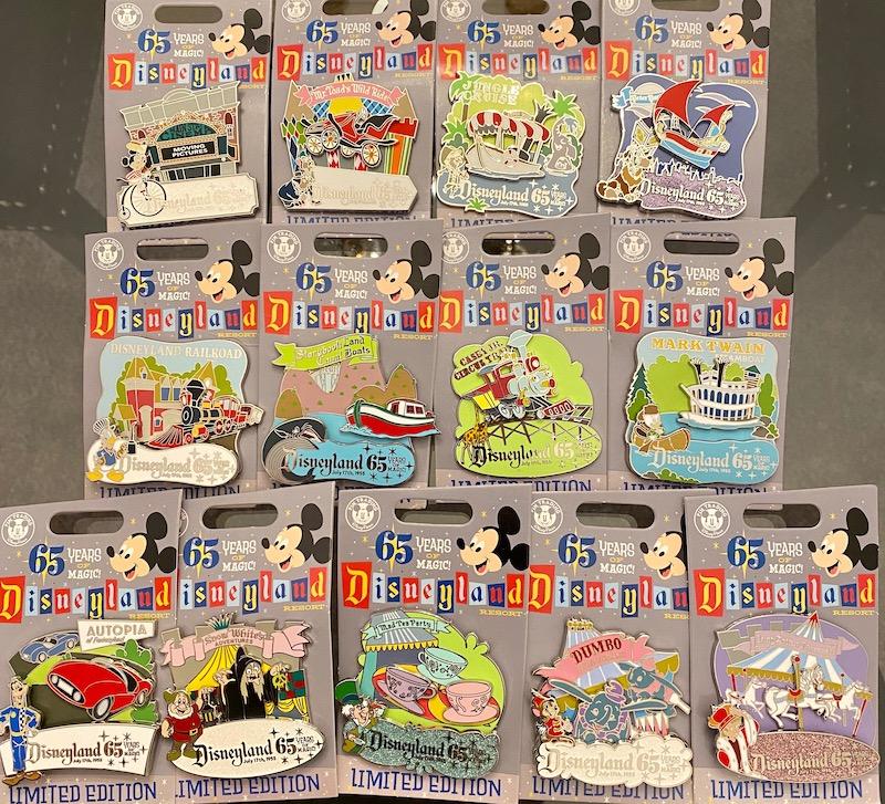 Disneyland Attractions 65th Anniversary Pin Set