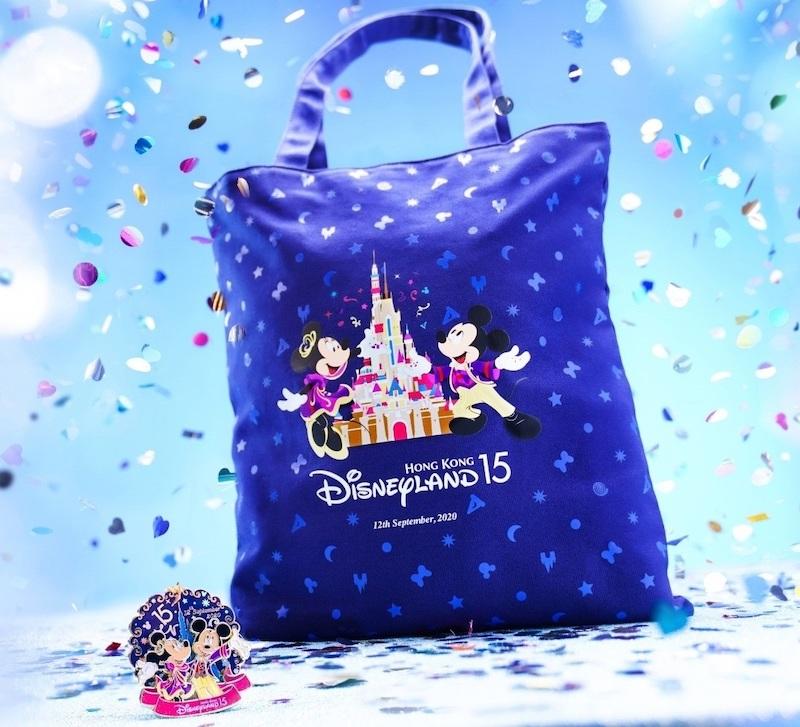 Hong Kong Disneyland 15th Anniversary Bag & Pin