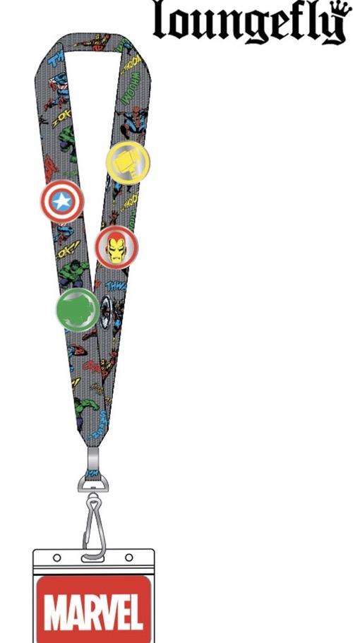 Marvel Loungefly Cardholder Lanyard Pin Set