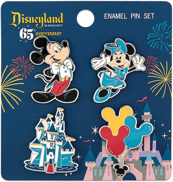 Mickey and Friends Disneyland 65th Anniversary Loungefly Pin Set