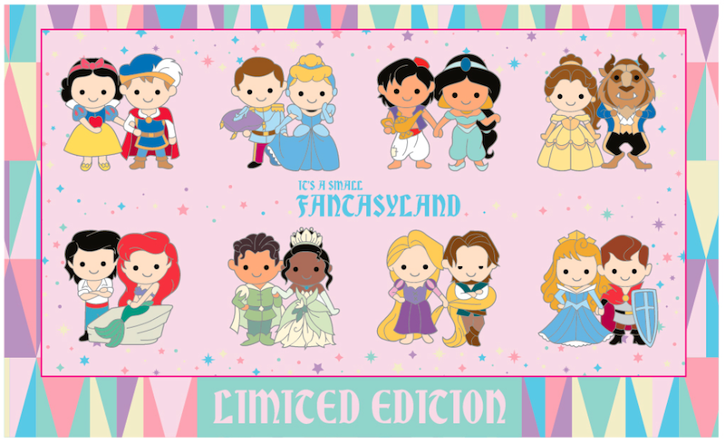 Princess Boxed Set Mini Pins - Fantasyland Cuties Disneyland Collection