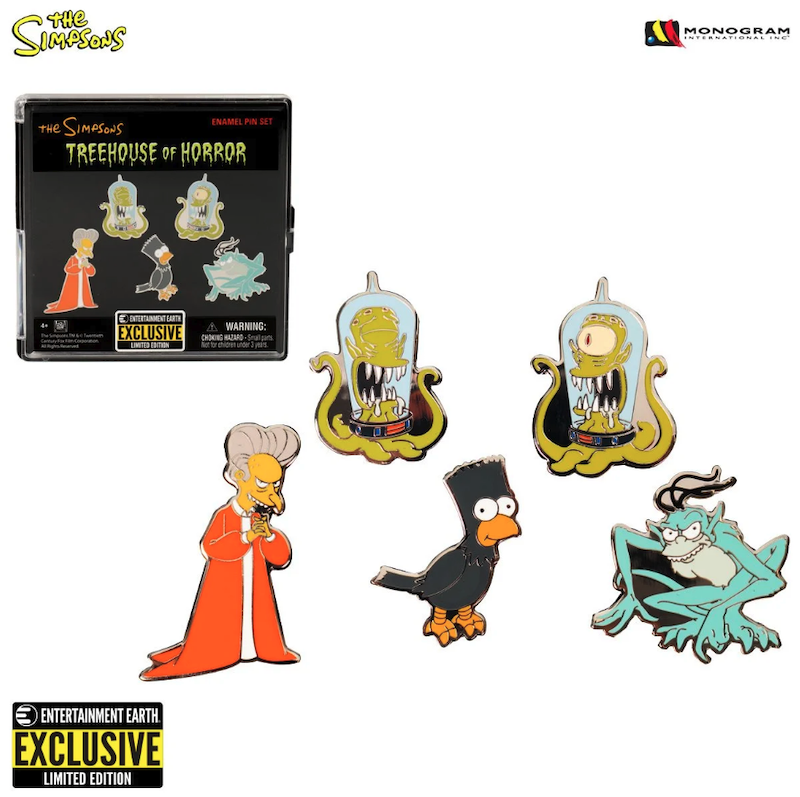 The Simpsons Treehouse of Horror Entertainment Earth Exclusive Pin Set