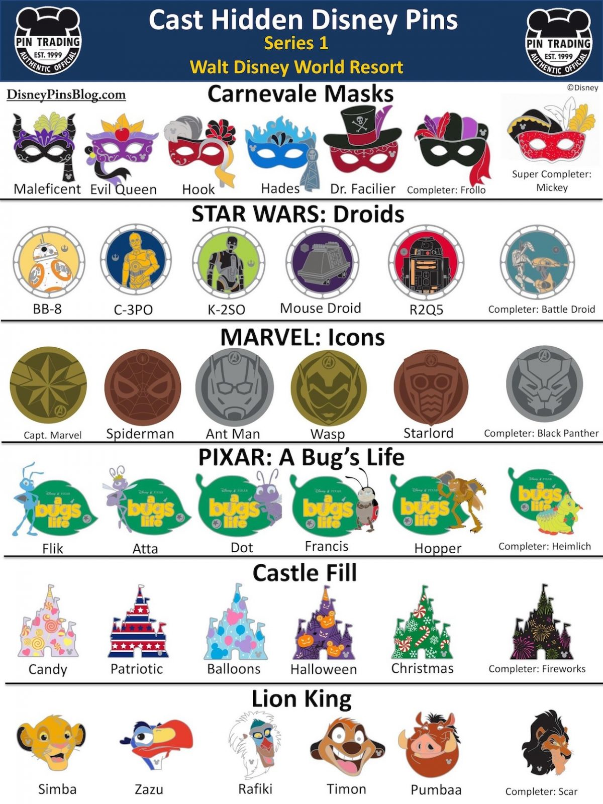 Walt Disney World Cast Hidden Disney Pins 2020 Series 1