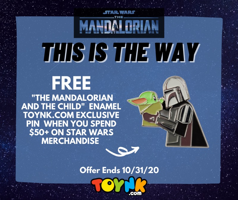 """FREE Toynk Exclusive """"The Mandalorian and The Child"""" Pin with $50+"""