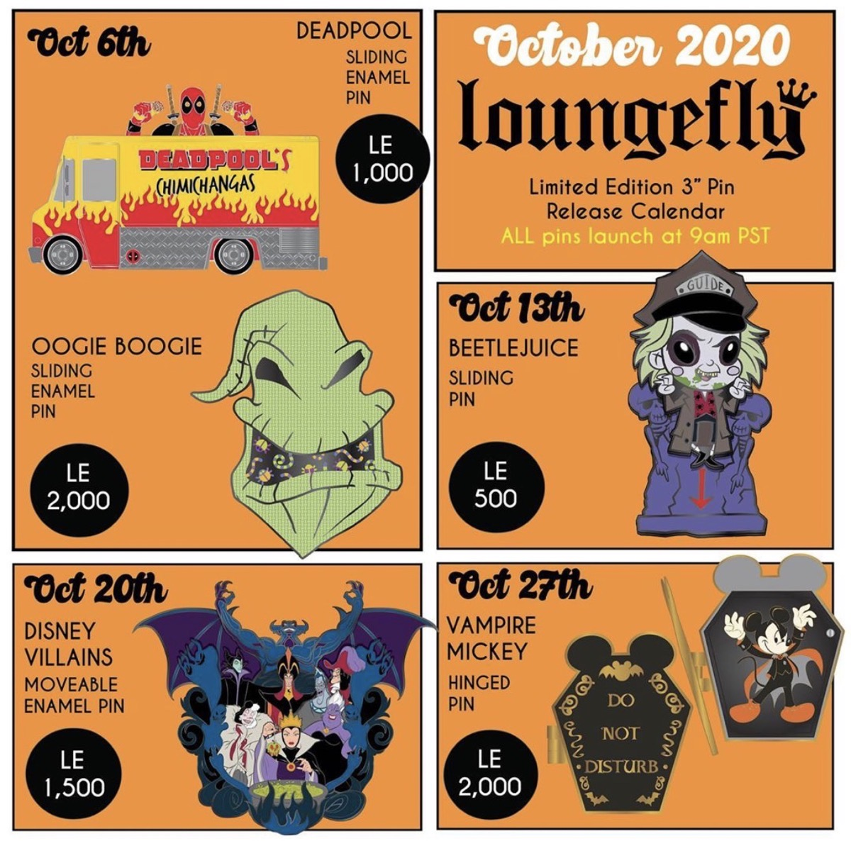 October 2020 Loungefly Disney Pin Preview