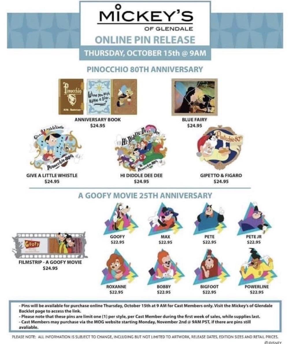 Pinocchio 80th Anniversary & A Goofy Movie 25th Anniversary WDI Pin Release
