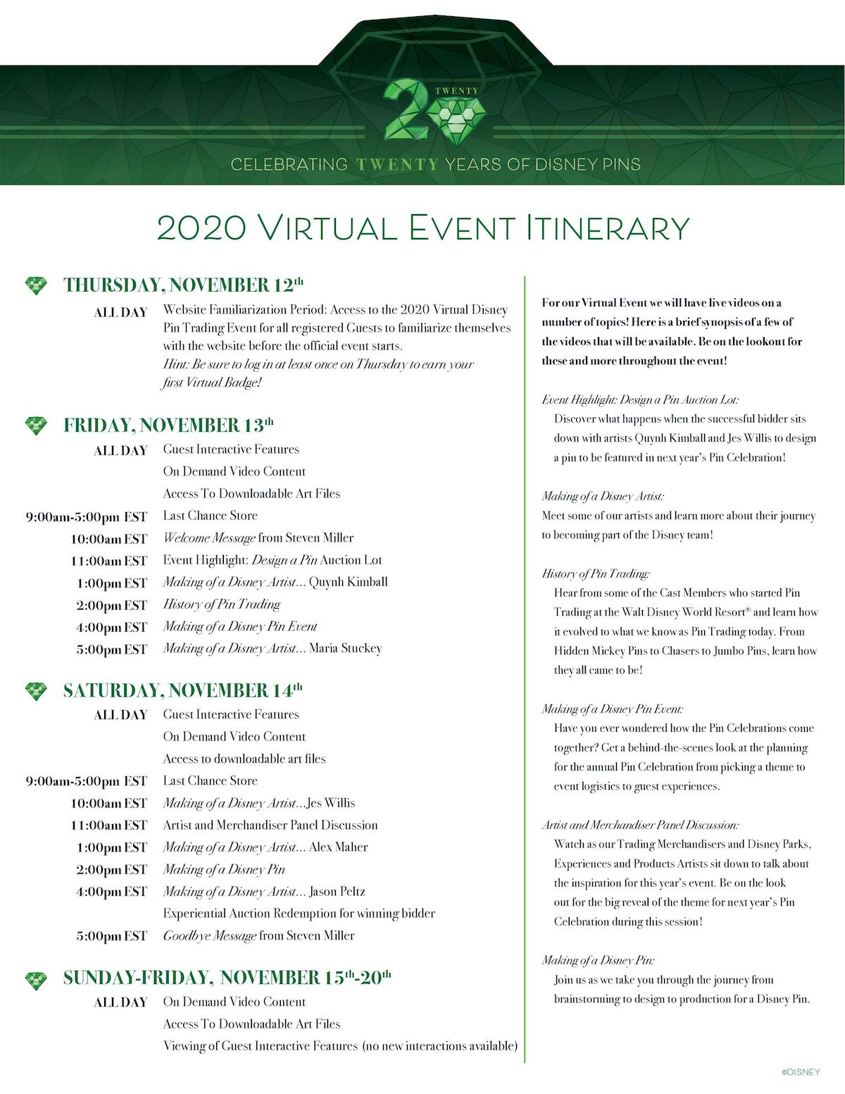 Celebrating 20 Years of Disney Pins 2020 Virtual Event Itinerary