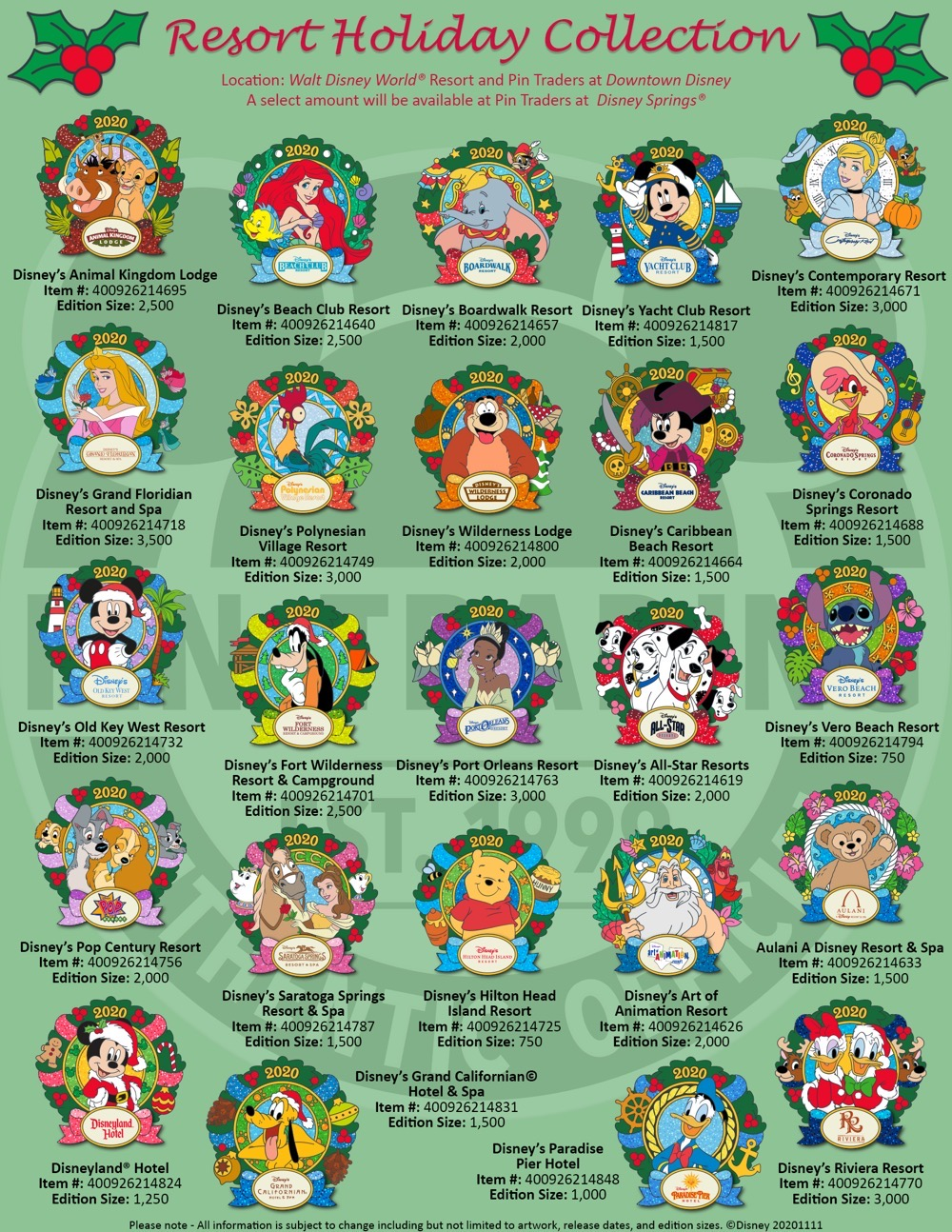 Christmas Resorts 2020 Disney Pins