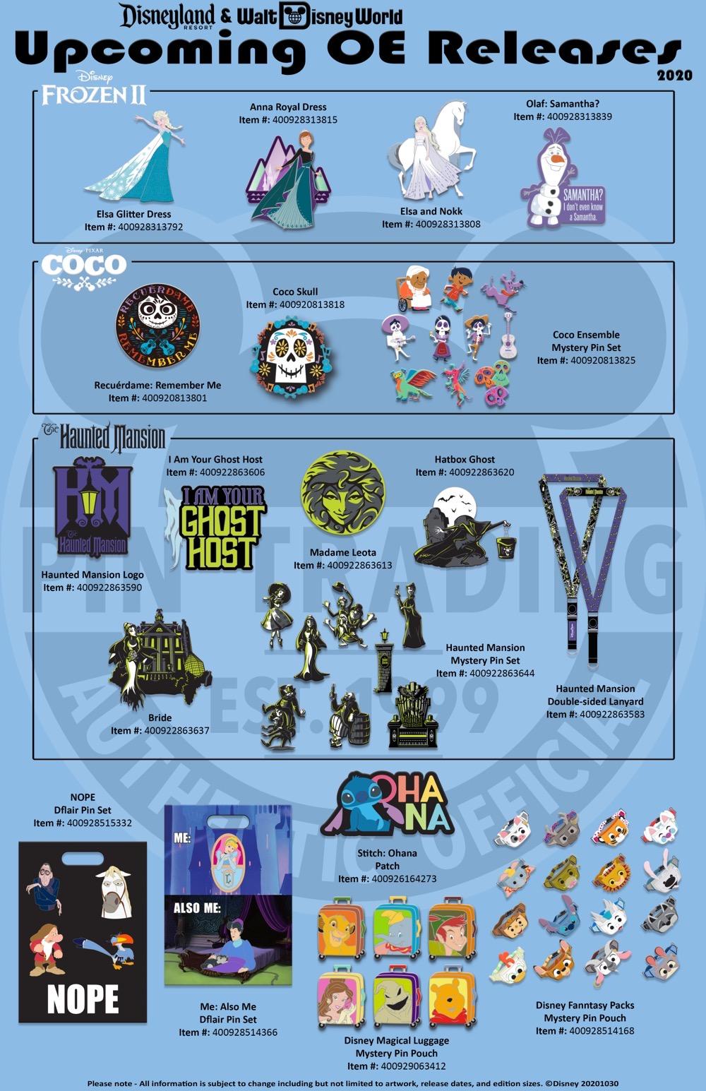 Disney Parks November-December 2020 OE Pin Releases