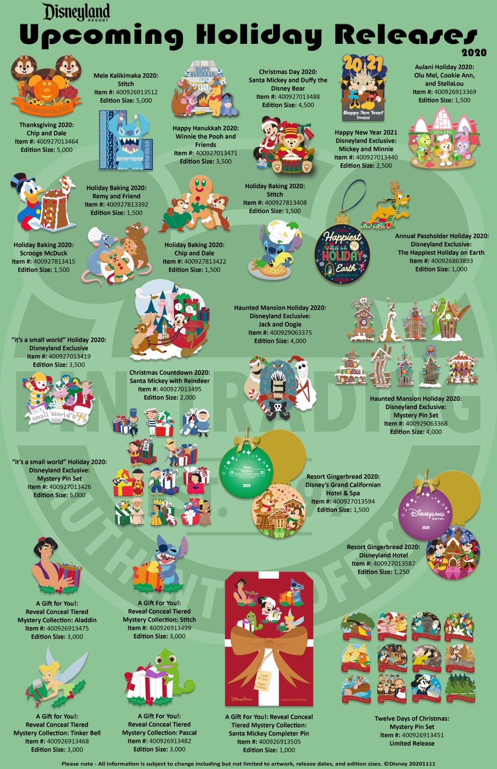 Disneyland Holiday 2020 Pin Releases