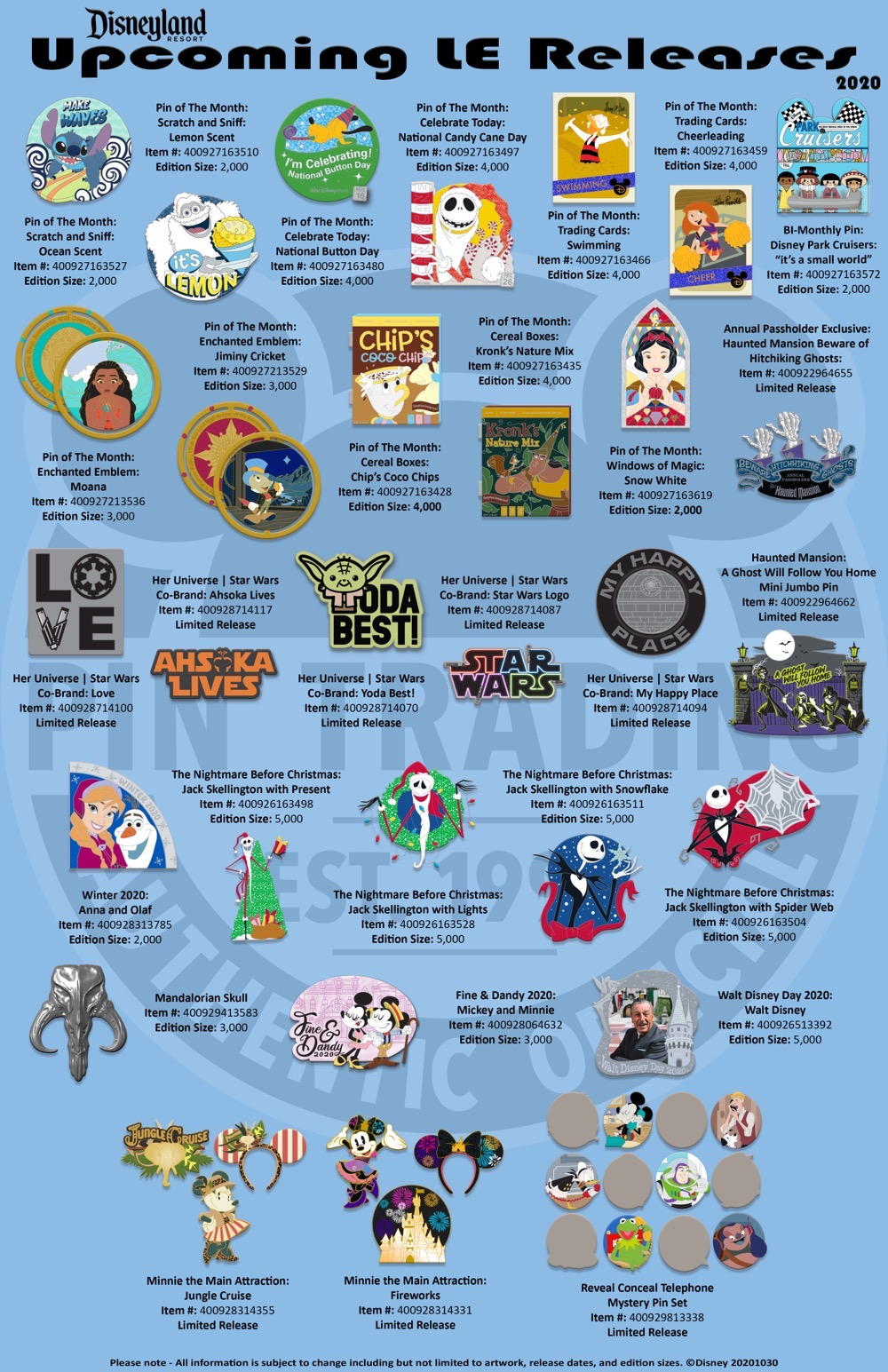 Disneyland November-December 2020 LE Pin Releases