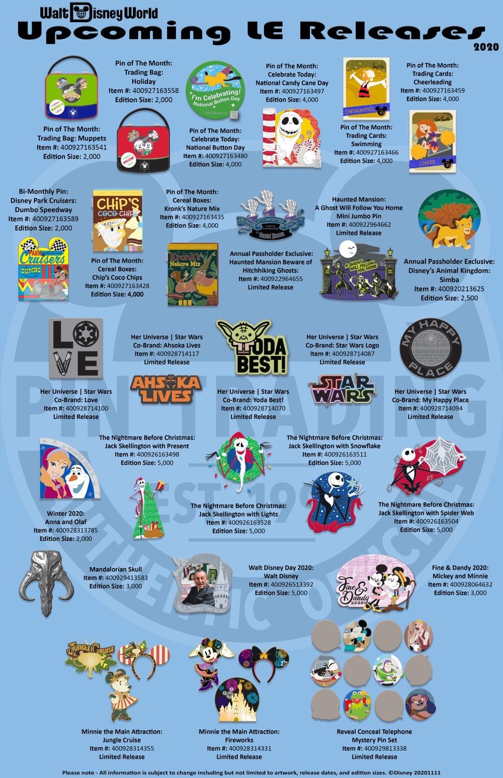 Walt Disney World November-December 2020 LE Pin Releases