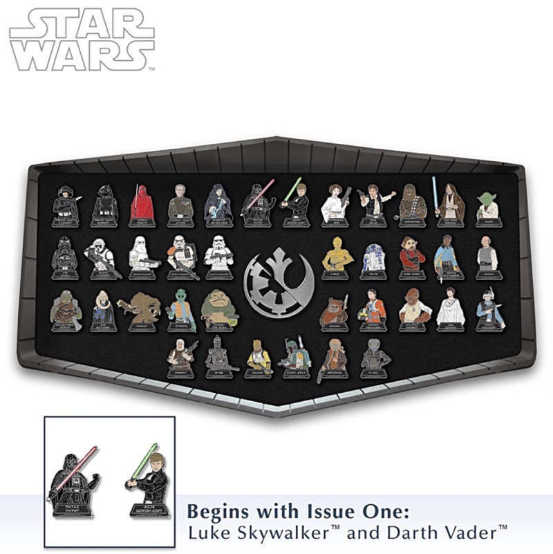 Chrome-Plated Star Wars Pins With Display at Bradford Exchange
